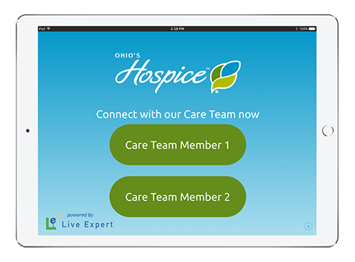 Live Expert Mobility Ohio's Hospice iPad Menu Screen