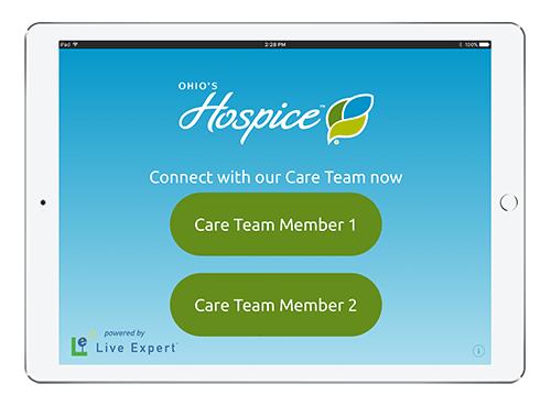 Live Expert Mobility Ohio's Hospice iPad Menu Screen