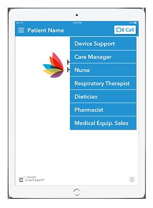 Live Expert Mobility Home Healthcare iPad Call Menu