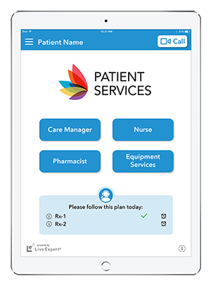 Live Expert Mobility iPad Patient Services Home