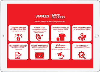 Live Expert Station Tablet Kiosk Staples Services Menu