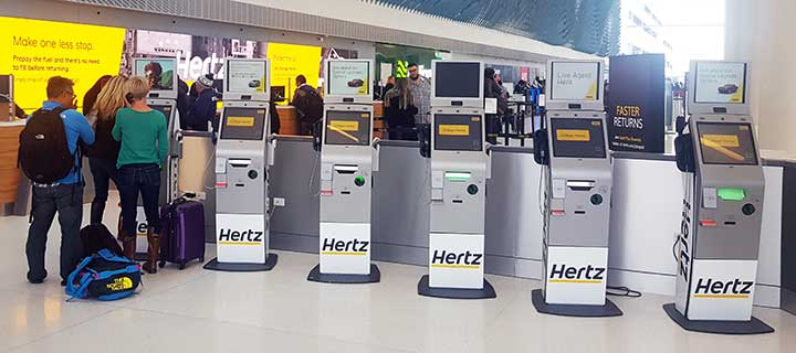 Live Expert Station Hertz Kiosks at Airport
