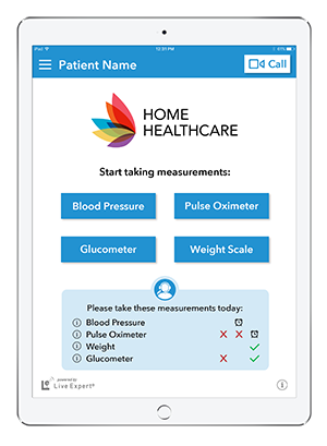 Live Expert Mobility iPad Home Healthcare Home Menu