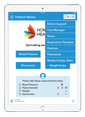 Live Expert Mobility Home Healthcare Home Screen Call Menu