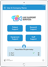 Live Expert Mobility iPad Live Support Services Home Menu