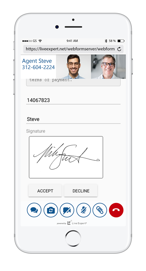 Live Expert video call using signature capture feature