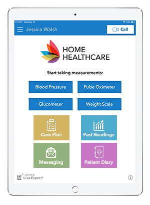 iPad Home Healthcare Mobile App Home Screen